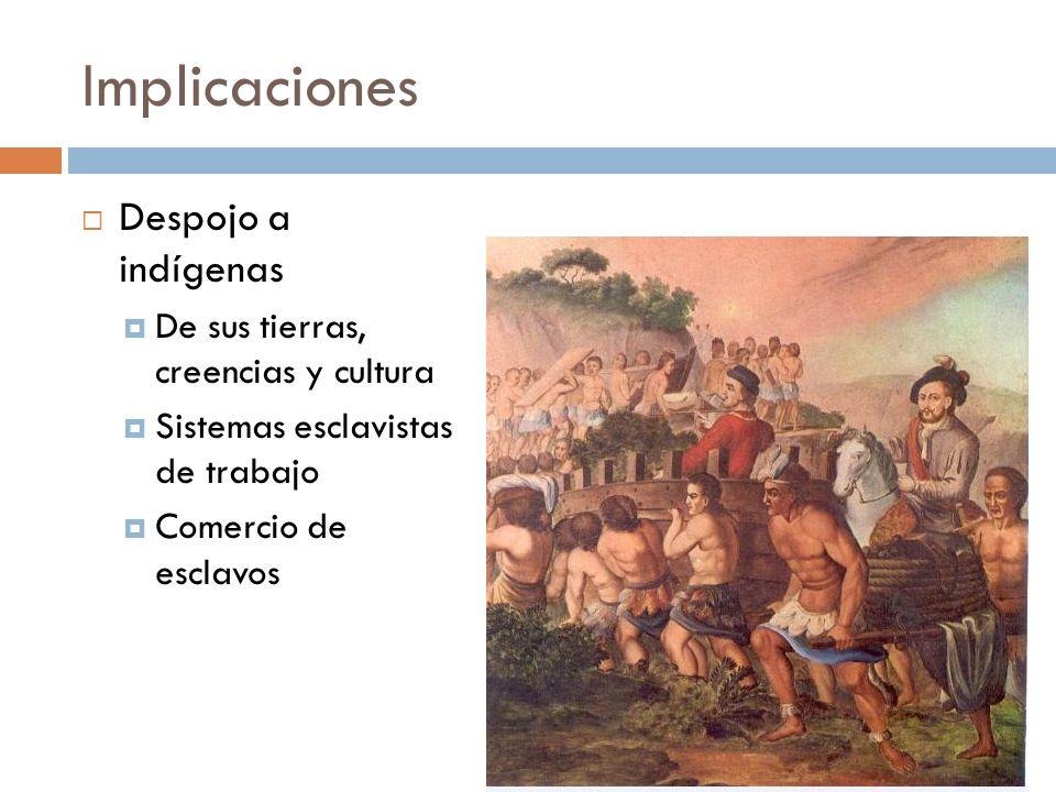 Implicaciones Despojo a indígenas De sus tierras, creencias y cultura
