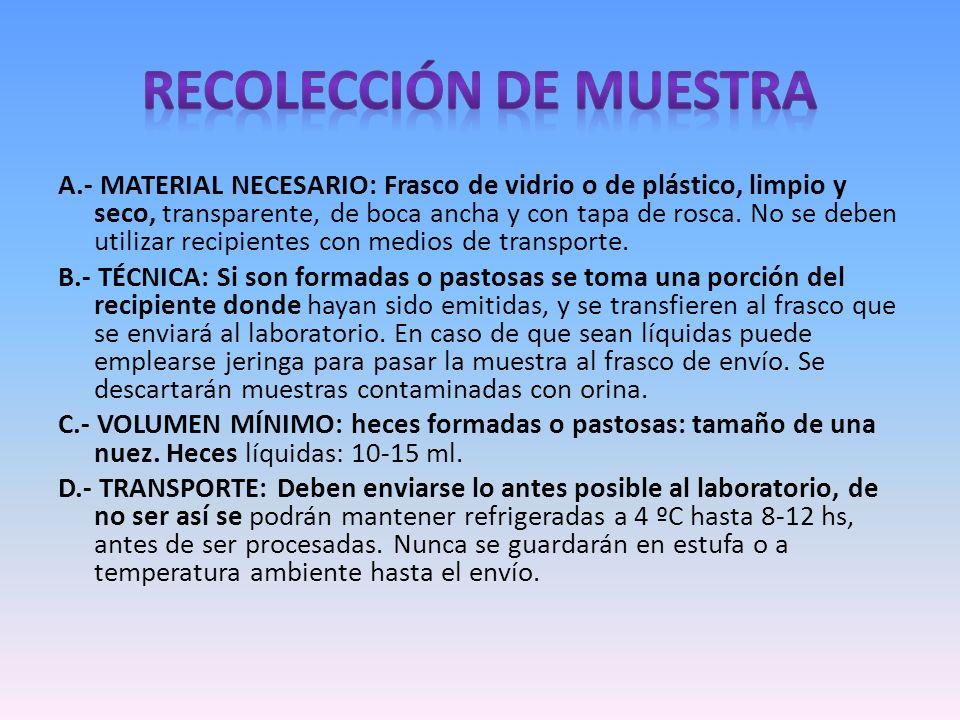 RECOLECCIÓN DE MUESTRA