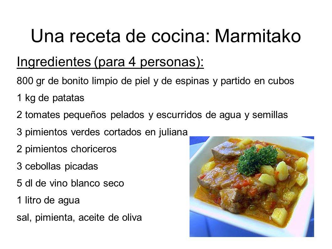 Una receta de cocina: Marmitako
