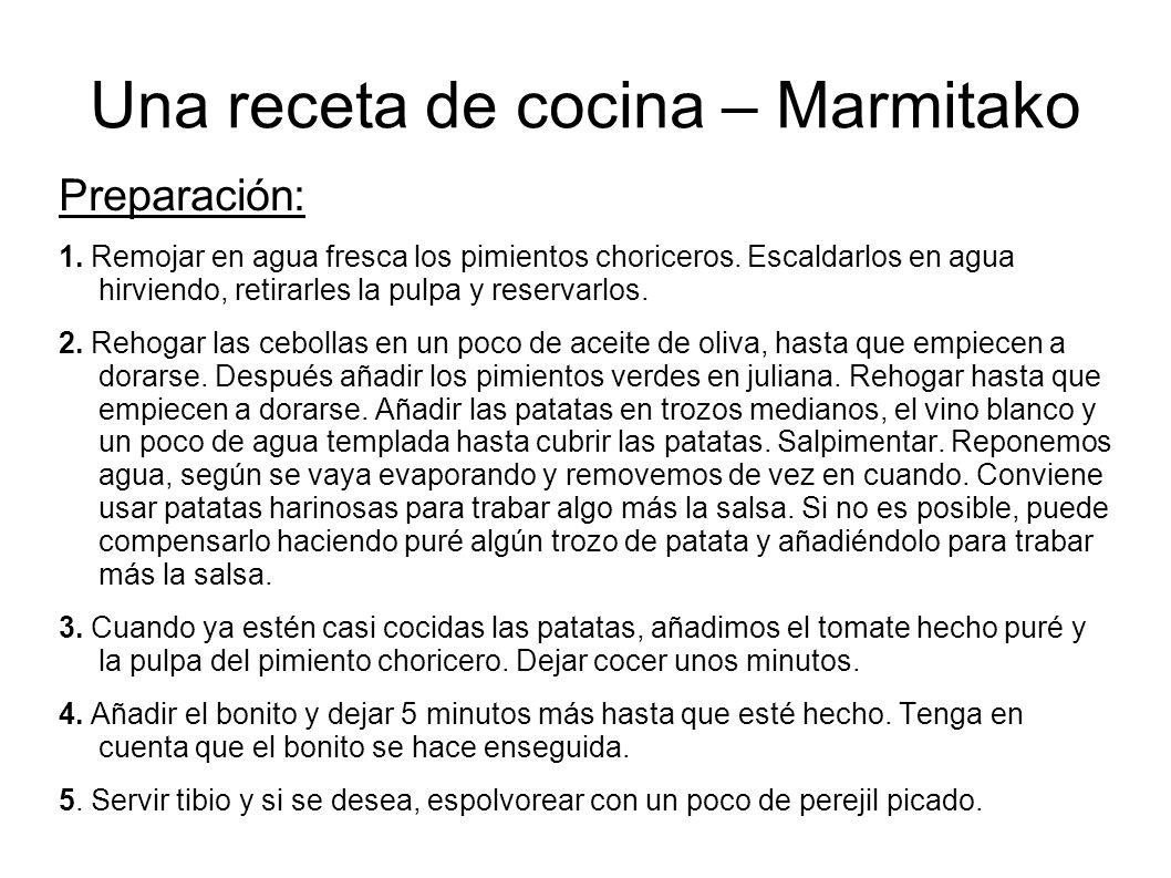 Una receta de cocina – Marmitako