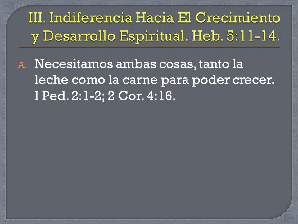 III. Indiferencia Hacia El Crecimiento y Desarrollo Espiritual. Heb