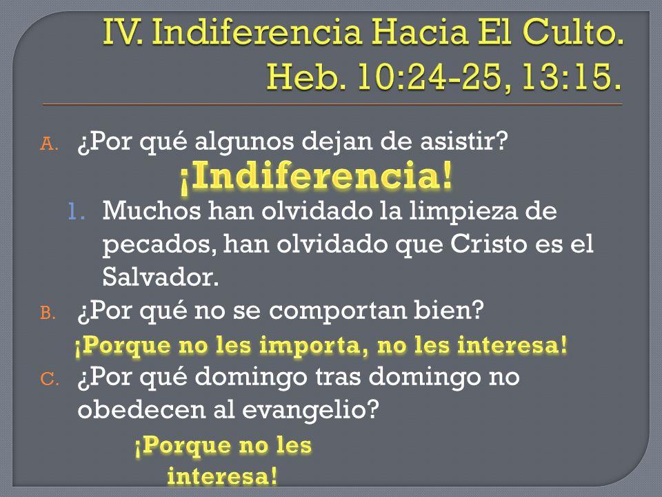 IV. Indiferencia Hacia El Culto. Heb. 10:24-25, 13:15.