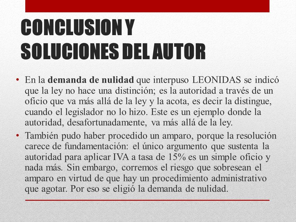 CONCLUSION Y SOLUCIONES DEL AUTOR