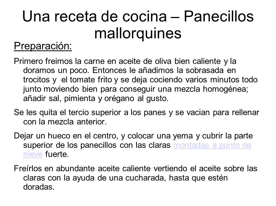 Una receta de cocina – Panecillos mallorquines
