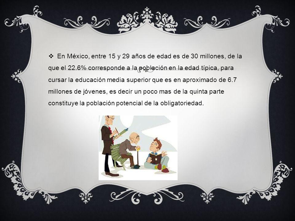 En México, entre 15 y 29 años de edad es de 30 millones, de la que el 22.6% corresponde a la población en la edad típica, para cursar la educación media superior que es en aproximado de 6.7 millones de jóvenes, es decir un poco mas de la quinta parte constituye la población potencial de la obligatoriedad.