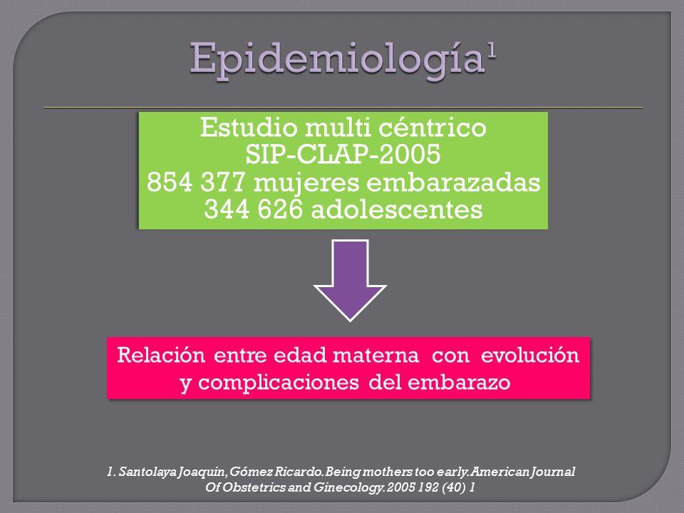 Epidemiología¹ Estudio multi céntrico SIP-CLAP-2005 854 377 mujeres embarazadas 344 626 adolescentes