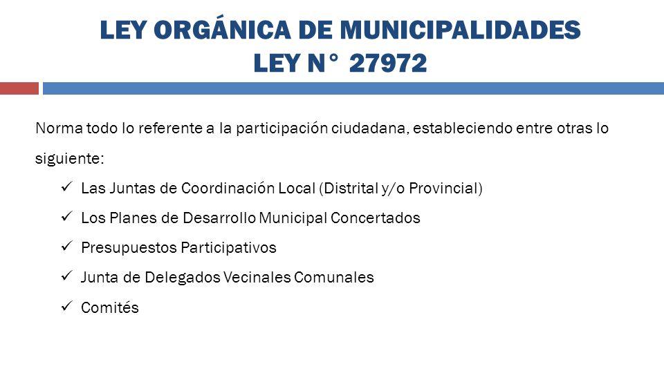 LEY ORGÁNICA DE MUNICIPALIDADES LEY N° 27972