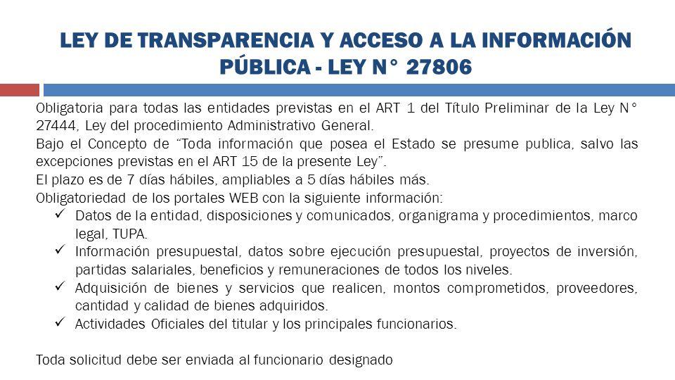 LEY DE TRANSPARENCIA Y ACCESO A LA INFORMACIÓN PÚBLICA - LEY N° 27806
