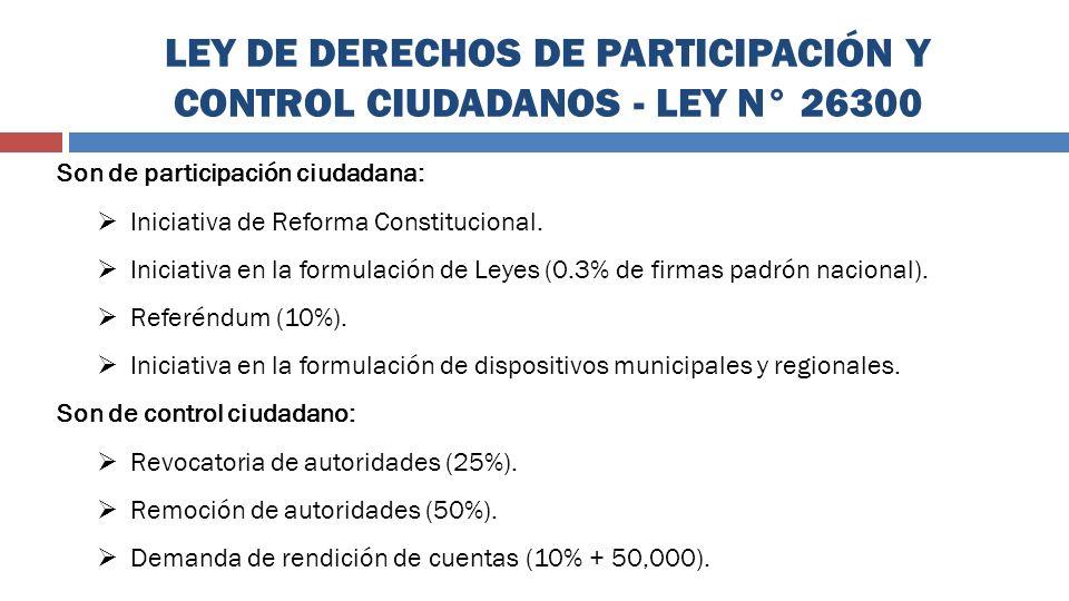 LEY DE DERECHOS DE PARTICIPACIÓN Y CONTROL CIUDADANOS - LEY N° 26300