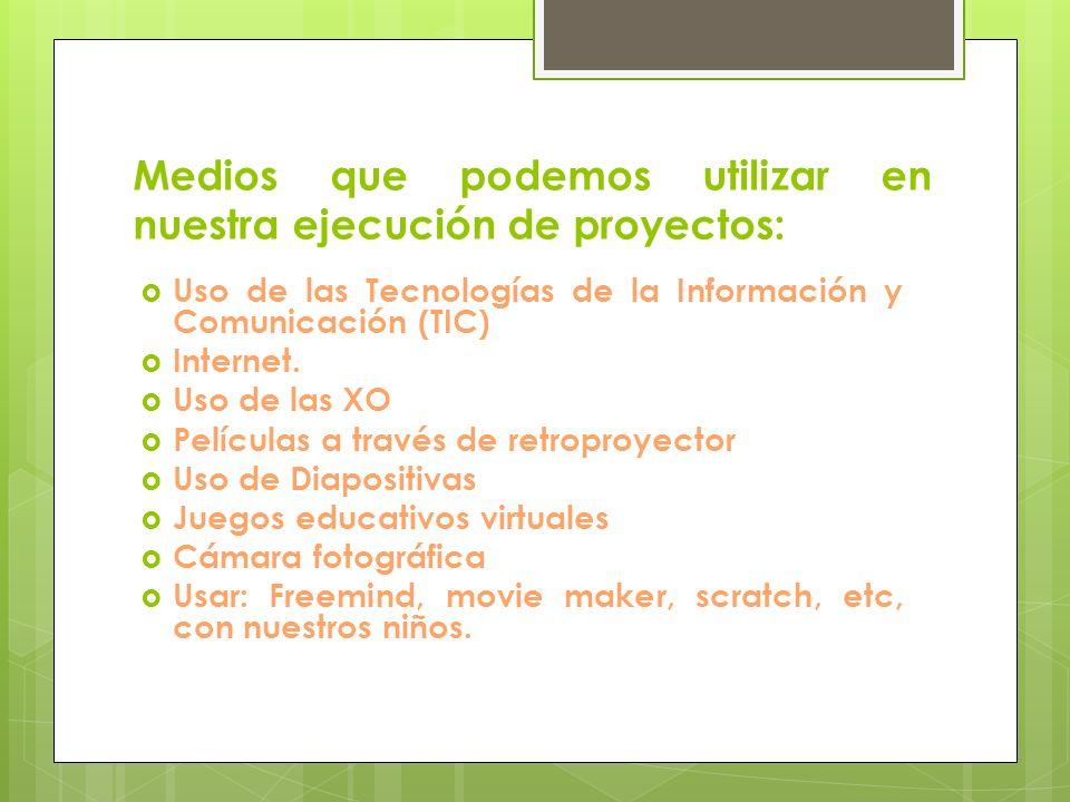 Medios que podemos utilizar en nuestra ejecución de proyectos: