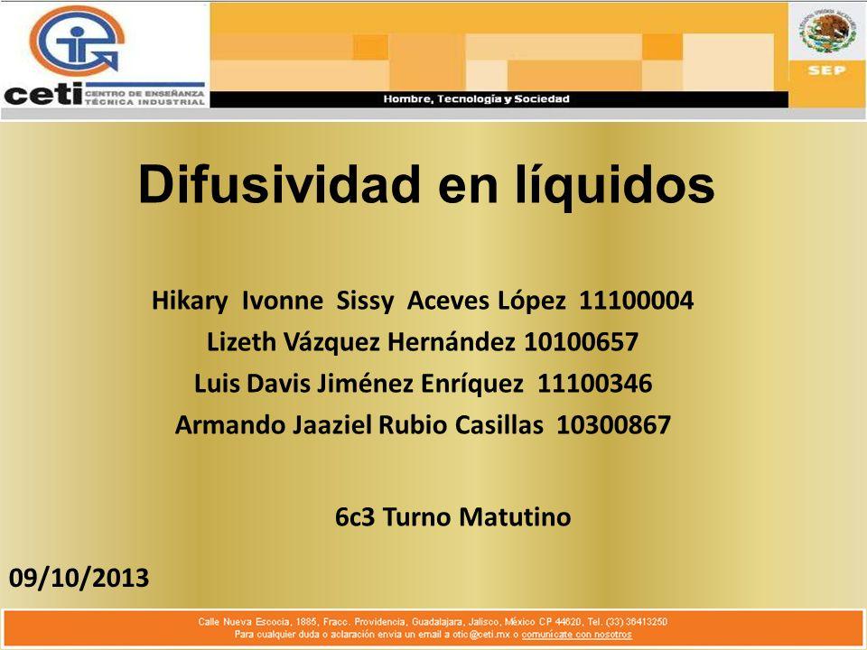 Difusividad en líquidos