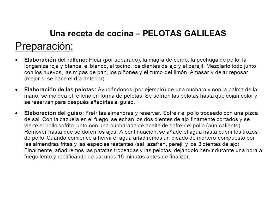 Una receta de cocina – PELOTAS GALILEAS
