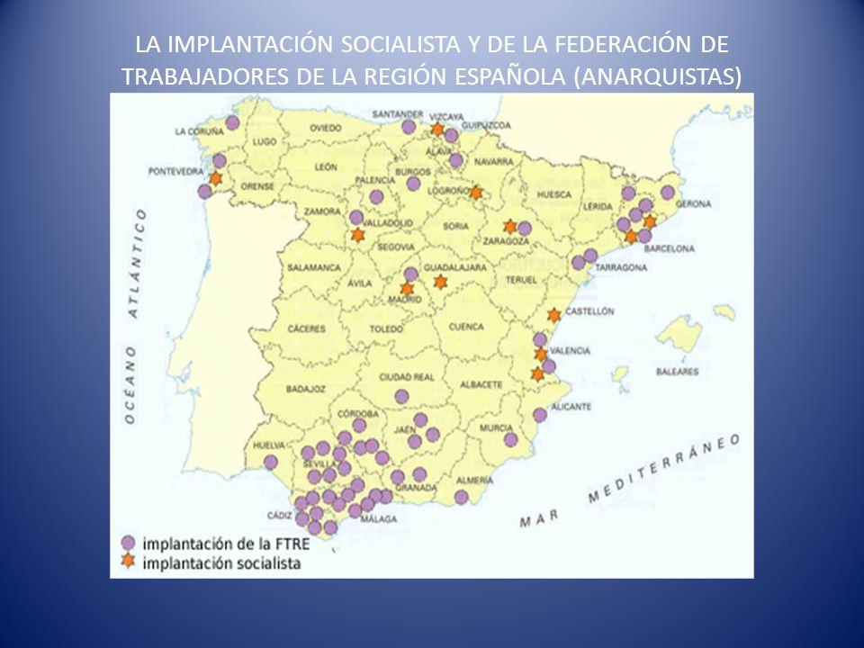LA IMPLANTACIÓN SOCIALISTA Y DE LA FEDERACIÓN DE TRABAJADORES DE LA REGIÓN ESPAÑOLA (ANARQUISTAS)
