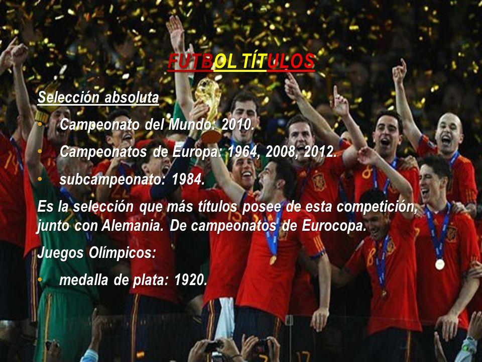 Futbol Títulos Selección absoluta Campeonato del Mundo: 2010.