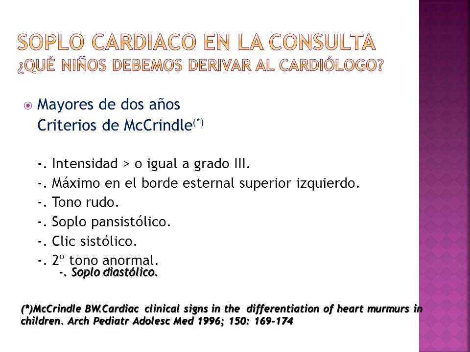 Soplo cardiaco en la consulta ¿Qué niños debemos derivar al cardiólogo