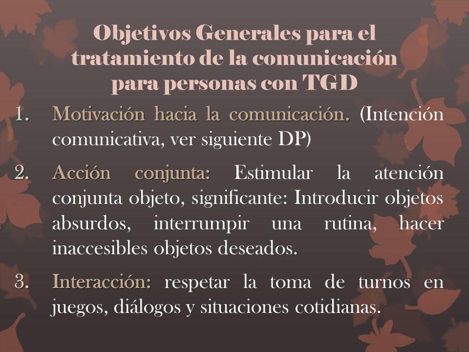 Objetivos Generales para el tratamiento de la comunicación para personas con TGD