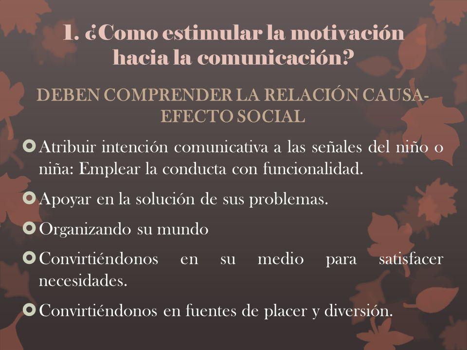 1. ¿Como estimular la motivación hacia la comunicación