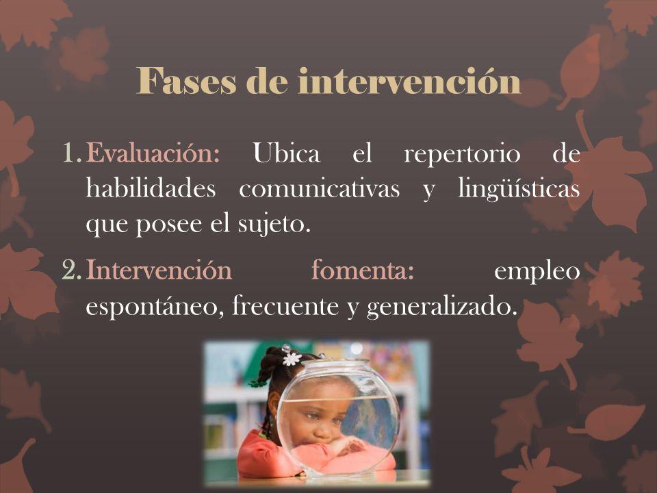 Fases de intervención Evaluación: Ubica el repertorio de habilidades comunicativas y lingüísticas que posee el sujeto.