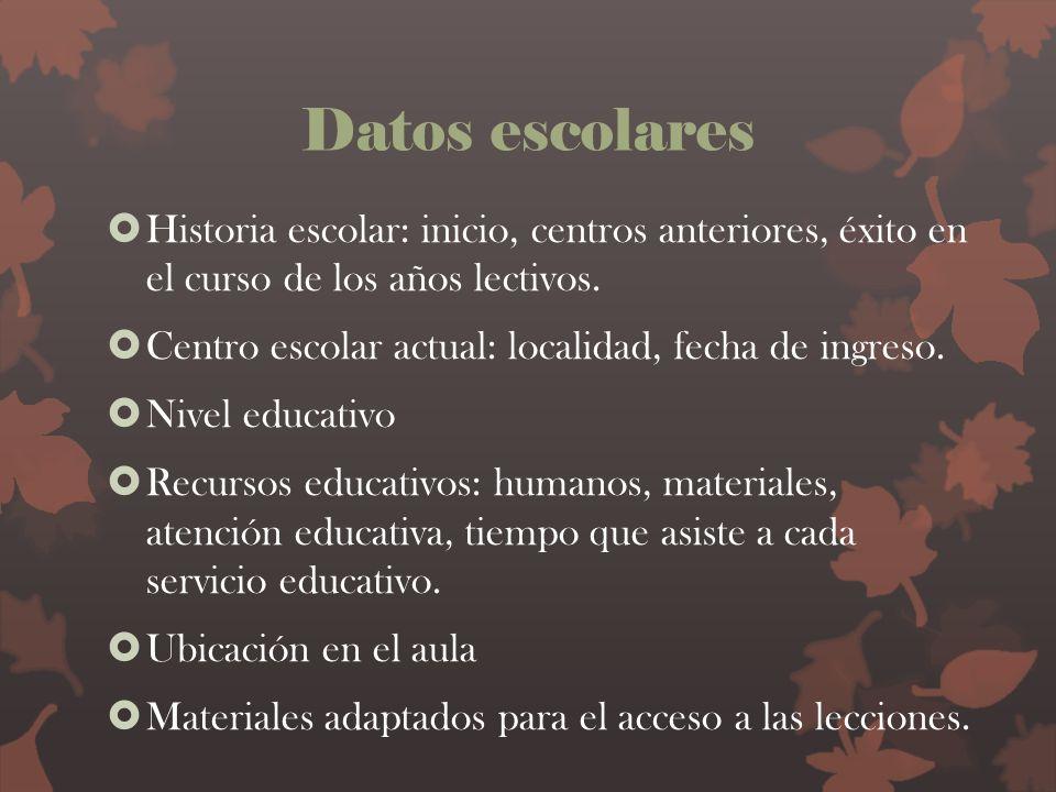 Datos escolares Historia escolar: inicio, centros anteriores, éxito en el curso de los años lectivos.