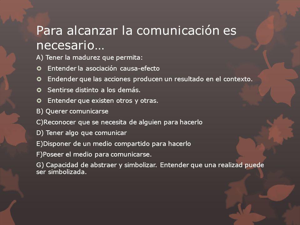 Para alcanzar la comunicación es necesario…