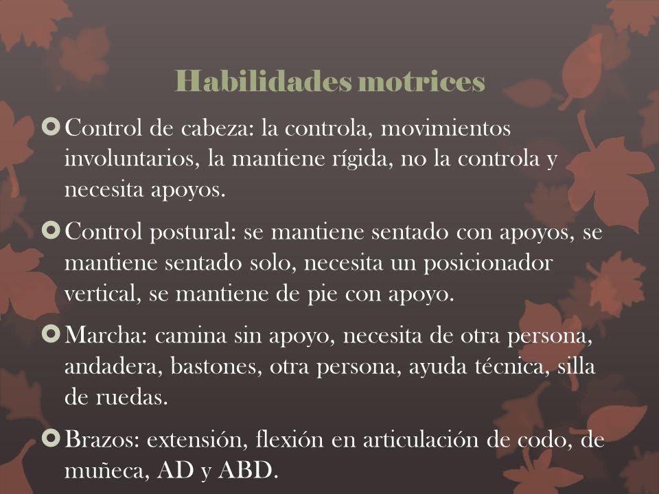 Habilidades motrices Control de cabeza: la controla, movimientos involuntarios, la mantiene rígida, no la controla y necesita apoyos.