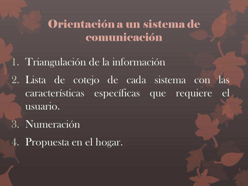 Orientación a un sistema de comunicación