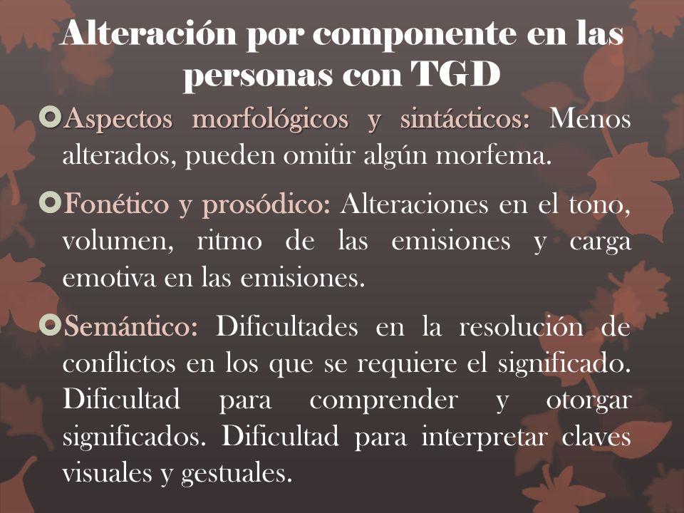 Alteración por componente en las personas con TGD