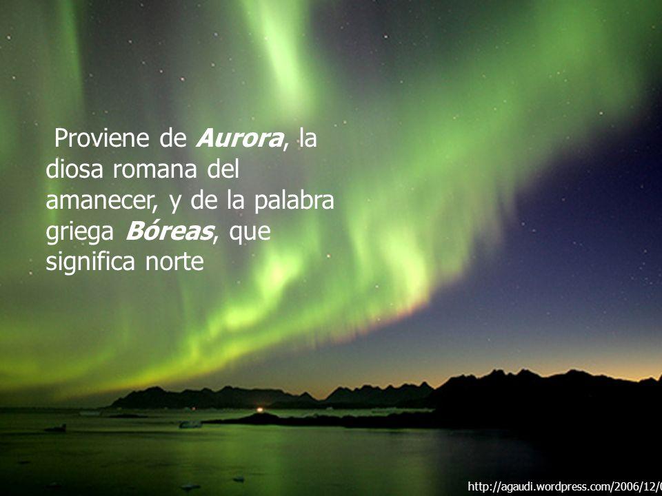 Proviene de Aurora, la diosa romana del amanecer, y de la palabra griega Bóreas, que significa norte