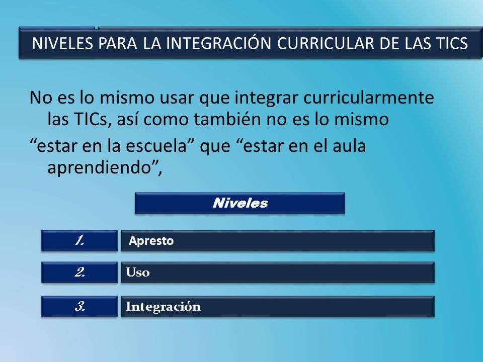 NIVELES PARA LA INTEGRACIÓN CURRICULAR DE LAS TICS