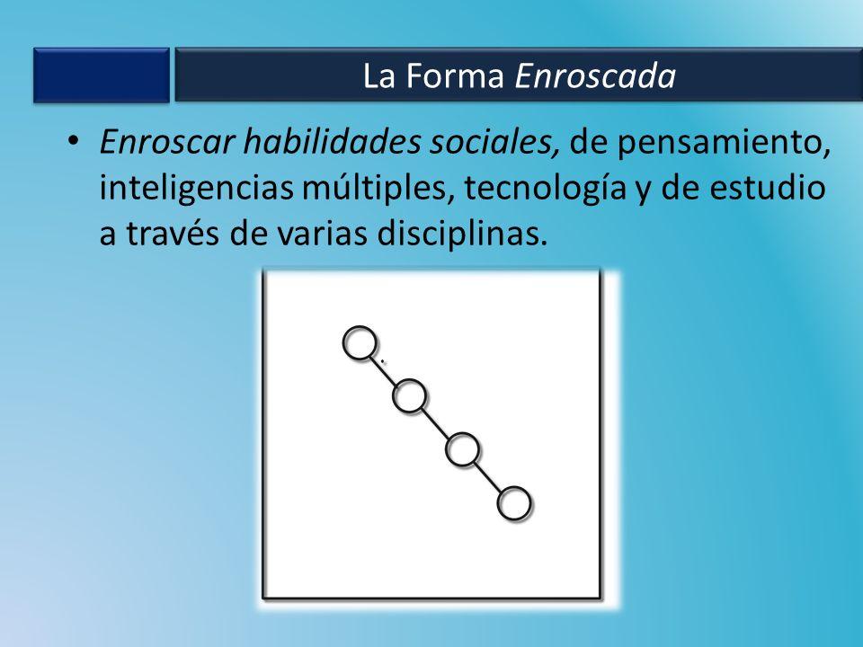La Forma Enroscada Enroscar habilidades sociales, de pensamiento, inteligencias múltiples, tecnología y de estudio a través de varias disciplinas.