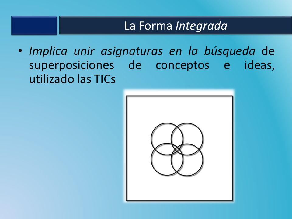 La Forma Integrada Implica unir asignaturas en la búsqueda de superposiciones de conceptos e ideas, utilizado las TICs.