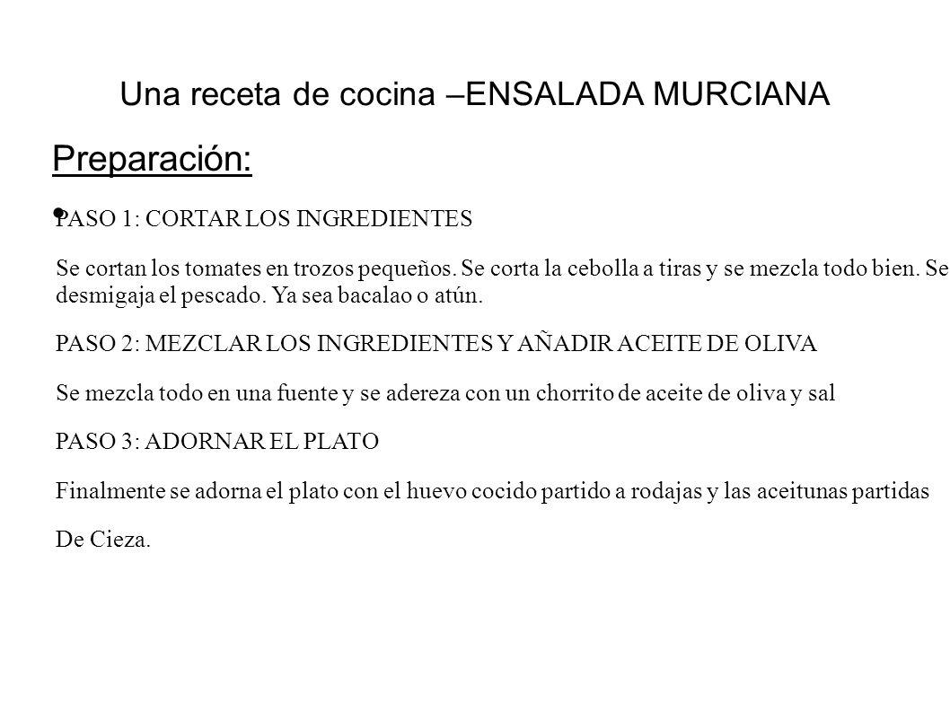 Una receta de cocina –ENSALADA MURCIANA