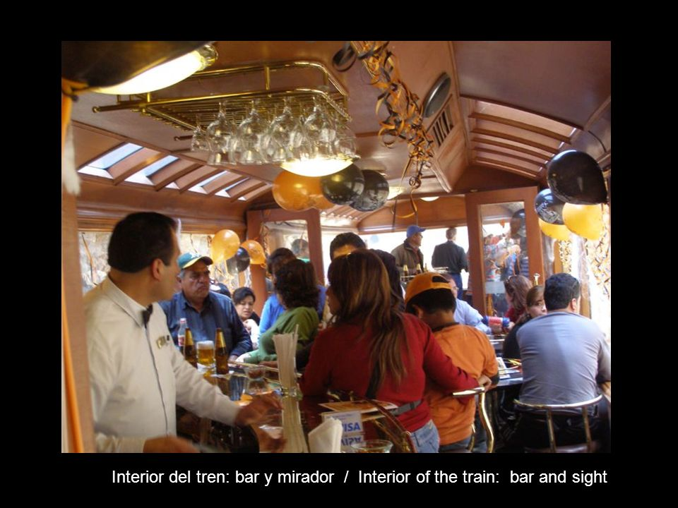 Interior del tren: bar y mirador / Interior of the train: bar and sight