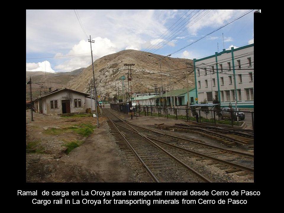 Cargo rail in La Oroya for transporting minerals from Cerro de Pasco