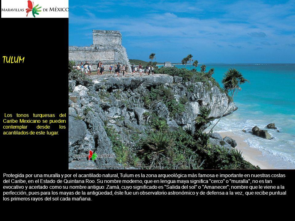 TULUM Los tonos turquesas del Caribe Mexicano se pueden contemplar desde los acantilados de este lugar.