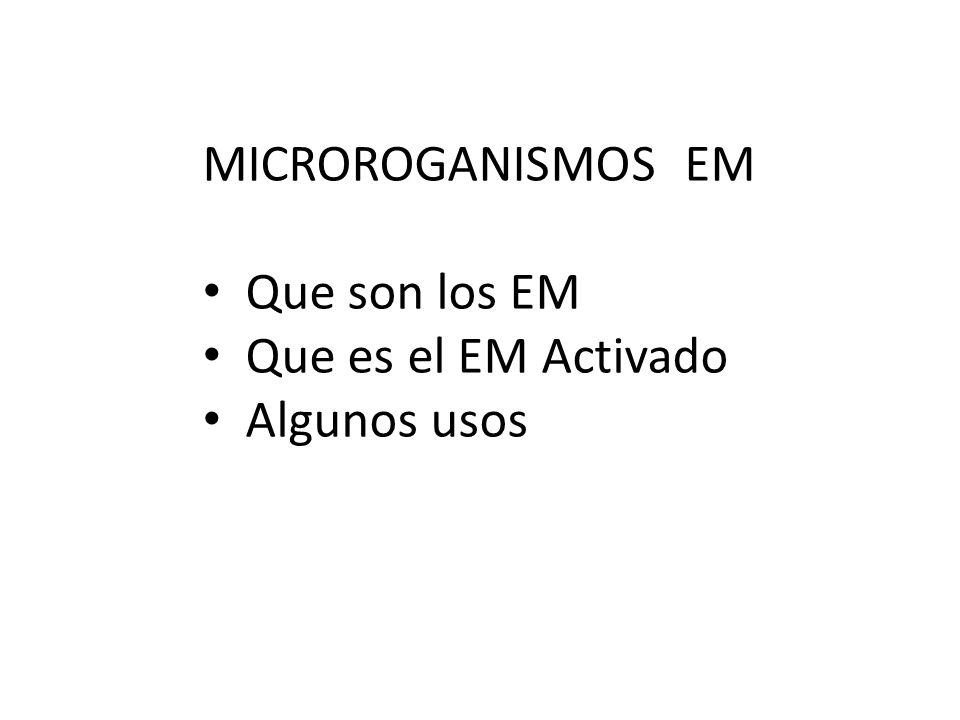 MICROROGANISMOS EM Que son los EM Que es el EM Activado Algunos usos