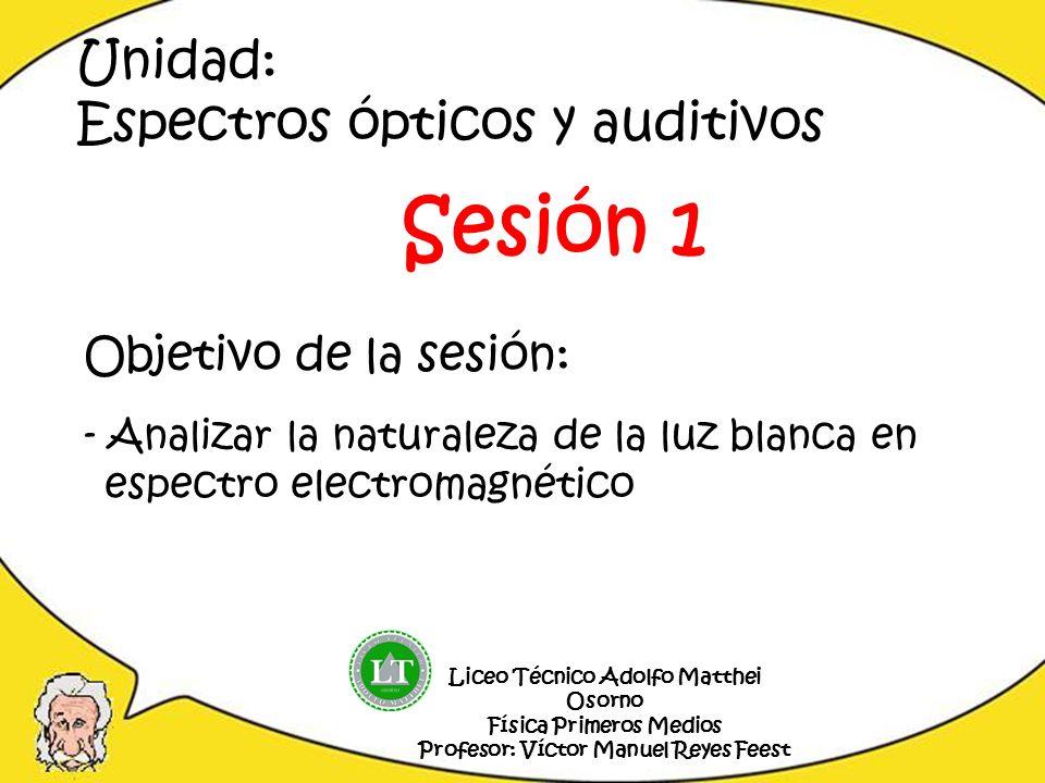 Sesión 1 Unidad: Espectros ópticos y auditivos Objetivo de la sesión:
