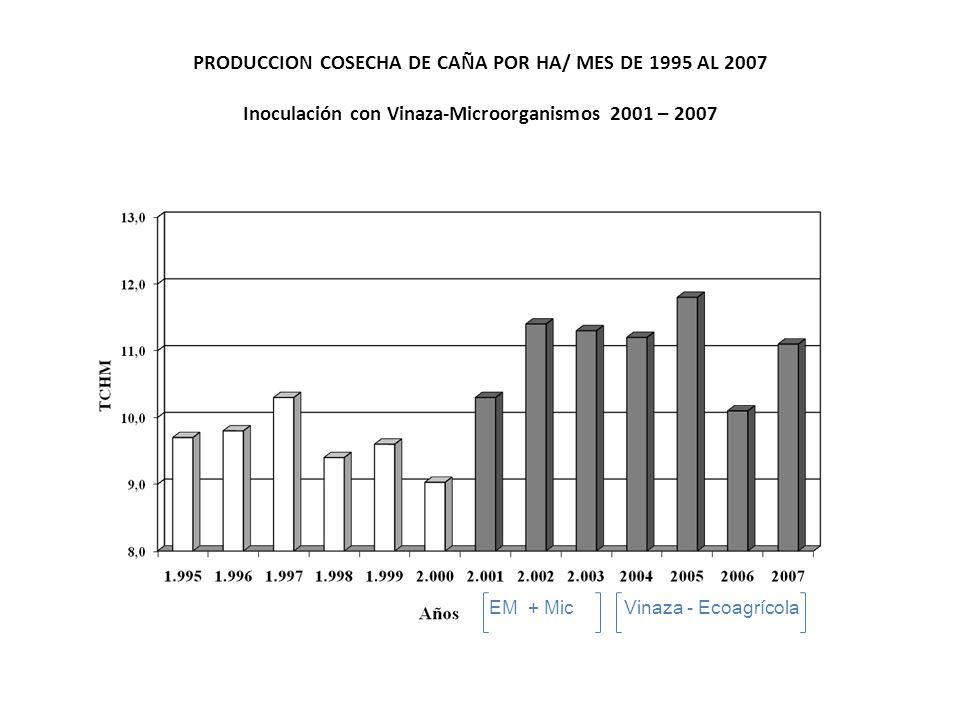 PRODUCCION COSECHA DE CAÑA POR HA/ MES DE 1995 AL 2007 Inoculación con Vinaza-Microorganismos 2001 – 2007
