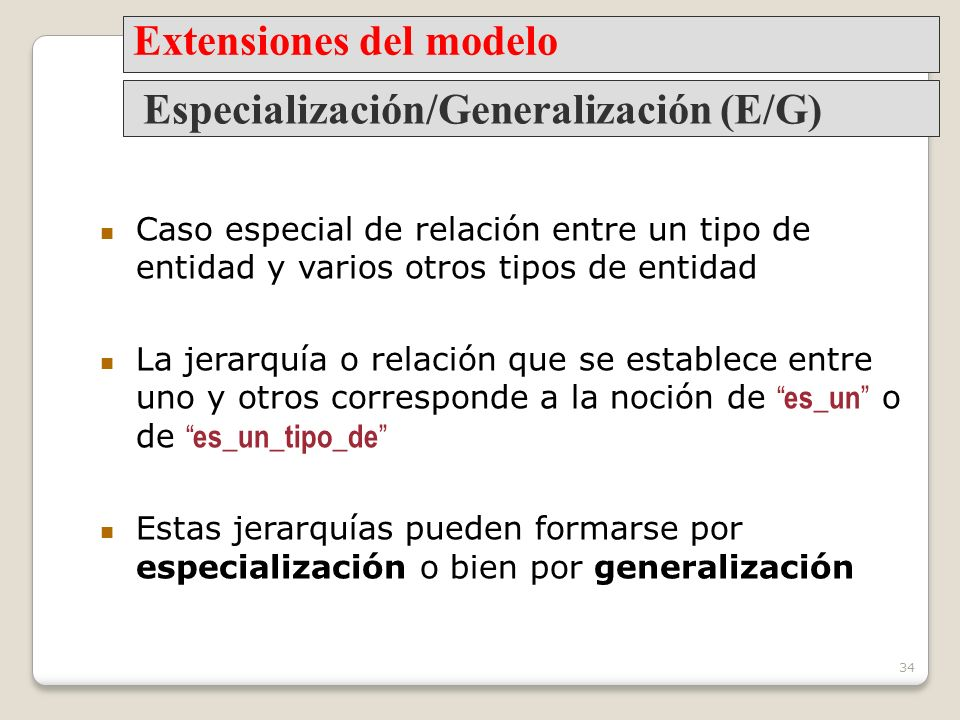 Extensiones del modelo Especialización/Generalización (E/G)