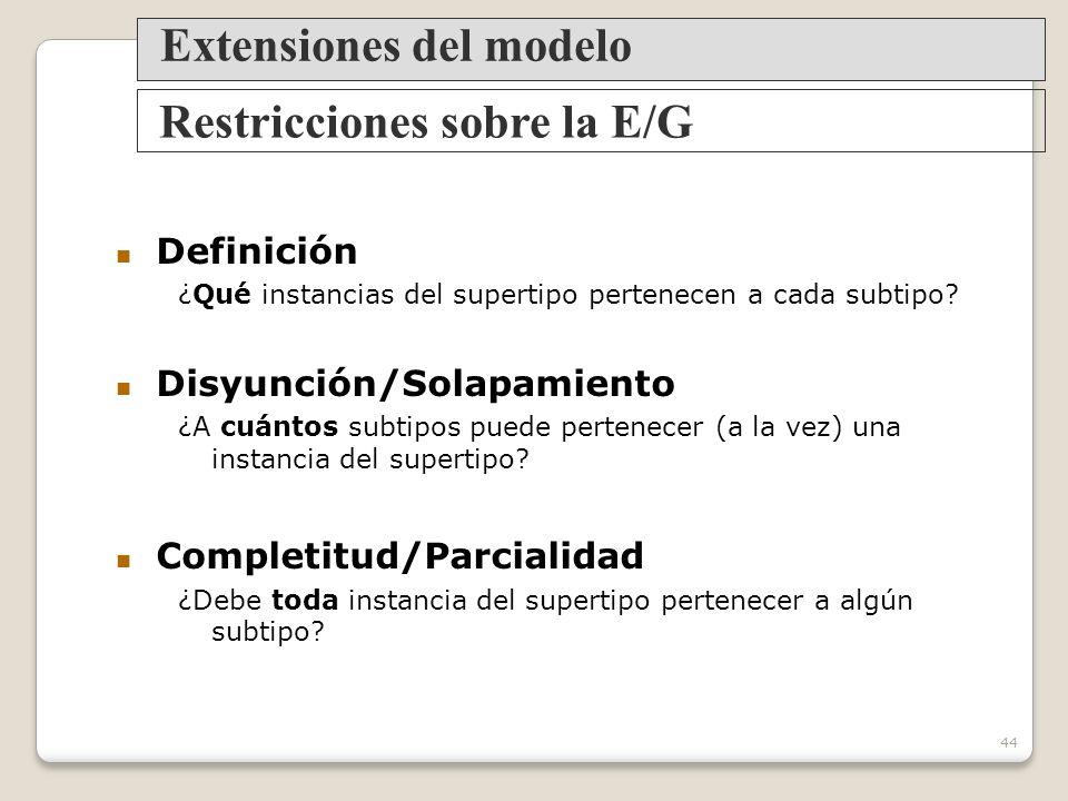 Extensiones del modelo Restricciones sobre la E/G