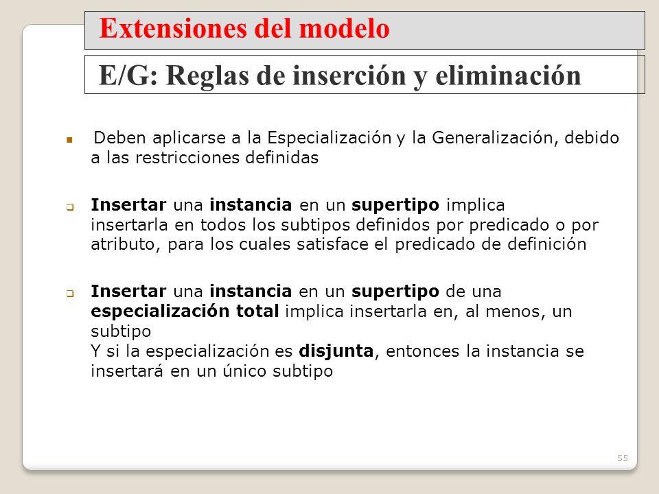 Extensiones del modelo E/G: Reglas de inserción y eliminación