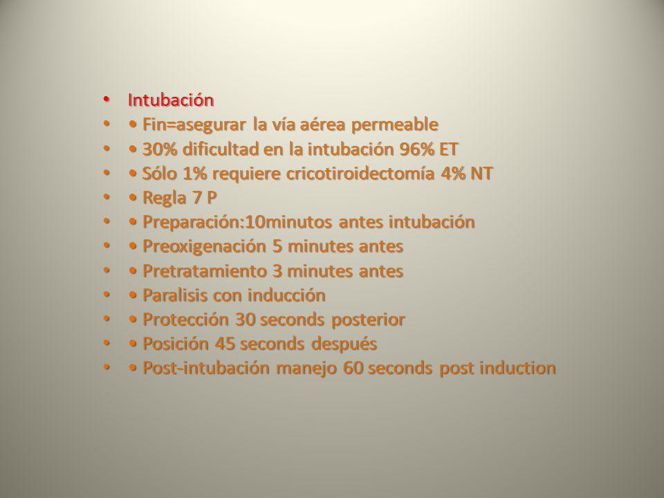Intubación • Fin=asegurar la vía aérea permeable. • 30% dificultad en la intubación 96% ET. • Sólo 1% requiere cricotiroidectomía 4% NT.