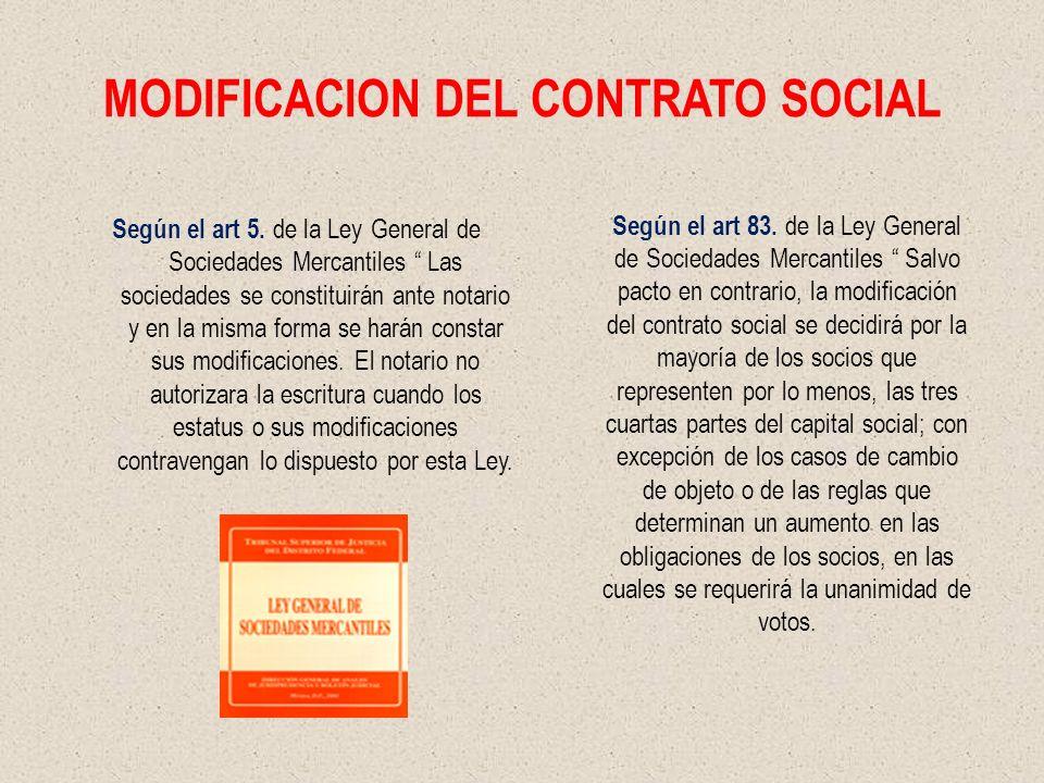 MODIFICACION DEL CONTRATO SOCIAL