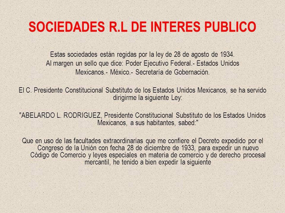 SOCIEDADES R.L DE INTERES PUBLICO