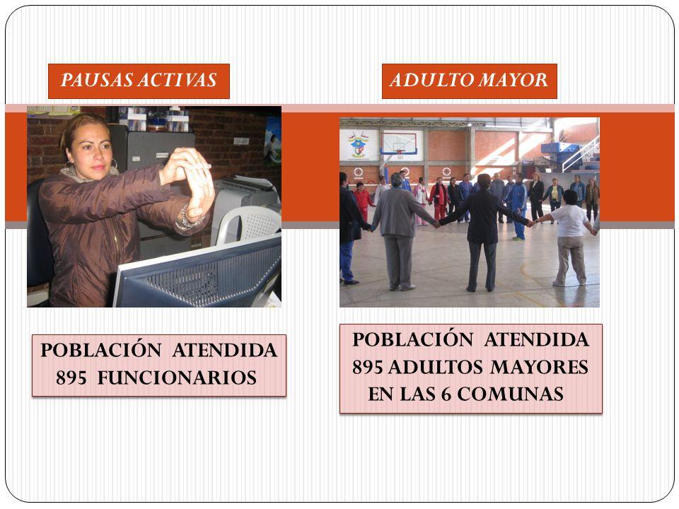 PAUSAS ACTIVAS ADULTO MAYOR. POBLACIÓN ATENDIDA. 895 ADULTOS MAYORES. EN LAS 6 COMUNAS. POBLACIÓN ATENDIDA.