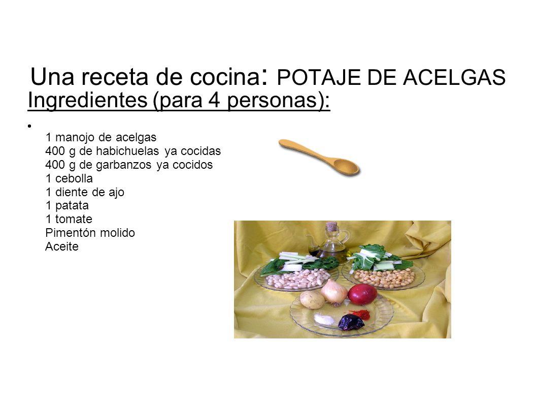 Una receta de cocina: POTAJE DE ACELGAS