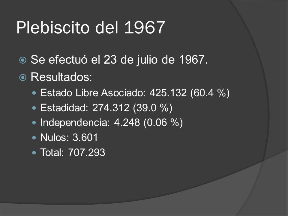 Plebiscito del 1967 Se efectuó el 23 de julio de 1967. Resultados: