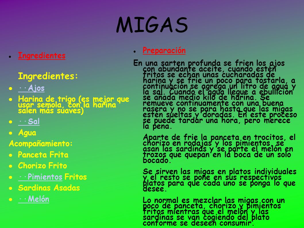 MIGAS Ingredientes: Preparación Ingredientes‏