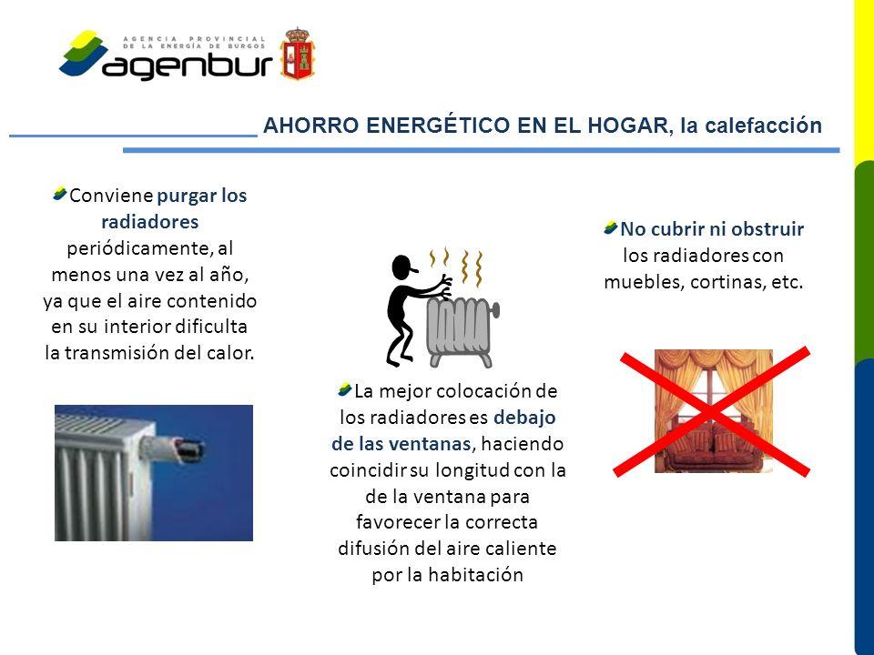 No cubrir ni obstruir los radiadores con muebles, cortinas, etc.