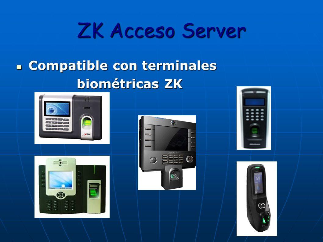 ZK Acceso Server Compatible con terminales biométricas ZK